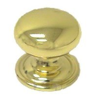 "Omnia Industries - Classic & Modern - 1 3/16"" Classic Knob with Attached Back Plate in Polished and Lacquered Brass"