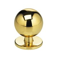 "Omnia Industries - Classic & Modern - 1 3/16"" Round Knob with Back Plate in Polished and Lacquered Brass"
