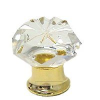 Omnia Industries - Crystal & Glass - 30mm Clear Crystal Knob with Polished Brass Base