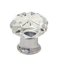 Omnia Industries - Crystal & Glass - 30mm Clear Crystal Knob with Polished Chrome Base