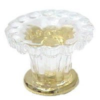 Omnia Industries - Crystal & Glass - 35mm Clear Glass Fountain Knob with Polished Brass Base