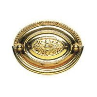 Omnia Industries - Decorative Drop Pulls - Oval Ornate Pull Polished and Lacquered Brass