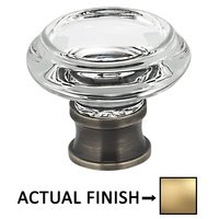 "Omnia Industries - Prodigy - 1 5/16"" Diameter Traditional Glass Knob in Satin Brass Lacquered"