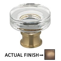 "Omnia Industries - Prodigy - 1 1/4"" Diameter Puck Glass Knob in Antique Brass Lacquered"