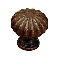 "Richelieu Hardware - Styles Inspiration XIV - Solid Brass 1 3/16"" Diameter Grooved Antiquated Knob in Antique Copper"