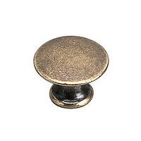 "Richelieu Hardware - Styles Inspiration XXVI - Solid Brass 3/4"" Diameter Flat Knob in Burnished Brass"