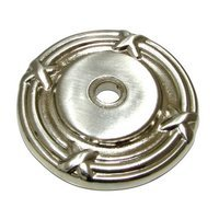 "Richelieu Hardware - Classic Expression III - 1 1/2"" Diameter Round Knob Backplate with Twig and Cross-tie Detail in Brushed Nickel"