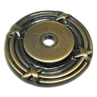"Richelieu Hardware - Classic Expression III - 1 1/2"" Diameter Round Knob Backplate with Twig and Cross-tie Detail in Antique English"