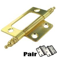 "Richelieu Hardware - Styles Inspiration XXXIV - 3"" Long Non-Mortise Hinge (Pair) with Minaret Finial in Brass"