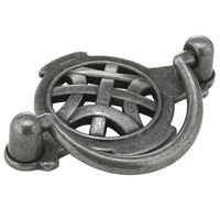 "Richelieu Hardware - Country Style Expression VIII - 2 1/2"" Centers Bail Pull with Celtic Backplate in Wrought Iron"