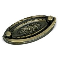 "Richelieu Hardware - Village Expression II - 2 1/2"" Centers Bail Pull with Classic Floral Backplate in Antique English"