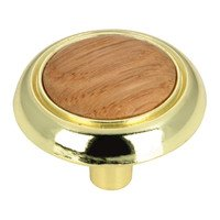 "Richelieu Hardware - Country Style Expression I - 1 1/4"" Diameter Knob with Wood Insert in Brass and Oak Natural Finish"