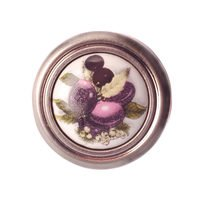 "Richelieu Hardware - Country Style Expression XIV - Ceramic 1 1/4"" Diameter Inset Knob in Brushed Nickel and Plum"