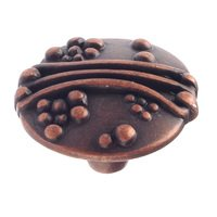 "Richelieu Hardware - Village Expression VII - 1 1/8"" Diameter String-and-Beads Embossed Knob in Antique Copper"