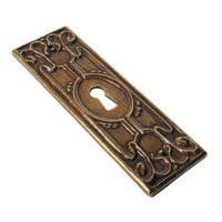 "Richelieu Hardware - Styles Inspiration XIV - Solid Brass 1 11/32"" Long Embossed Antiquated Escutcheon in Bronze"