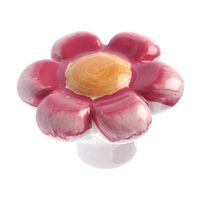 "Richelieu Hardware - Country Style Expression XIII - 1 5/8"" Diameter Painted Ceramic Flower Knob in Pastel Red"
