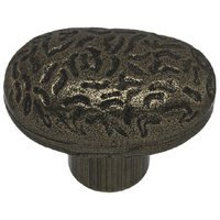 "Richelieu Hardware - Country Style Expression IX - 1 11/16"" Long Hammered Oval Knob in Hammered Iron"