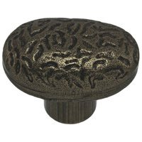 "Richelieu Hardware - Country Style Expression IX - 1 13/32"" Long Hammered Oval Knob in Hammered Burnished Brass"