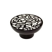 "Richelieu Hardware - Porcelain - 2 3/8"" Round Eclectic Porcelain Knob in Black With White"