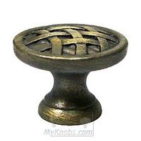 RK International - Antique English - Large Cross Hatched Knob in Antique English