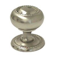 "RK International - Satin Nickel - 1 1/4"" Rope Knob with Backplate in Satin Nickel"