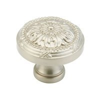 "Schaub and Company - Versailles - Solid Brass Satin Nickel Round 1 1/4"" ( 32mm ) Knob"
