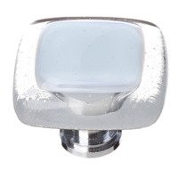 "Sietto Glass Hardware - Reflective - 1 1/4"" Knob in Soft Blue with Oil Rubbed Bronze base"