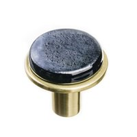 Sietto Glass Hardware - Geometric - Round Irid Black Knob on Round Satin Brass Base