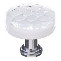 "Sietto Glass Hardware - Texture - 1 1/4"" Round Honeycomb Knob in White"