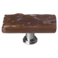 Sietto Glass Hardware - Glacier - Long Knob in Woodland Brown with Oil Rubbed Bronze base