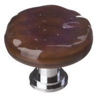 Sietto Glass Hardware - Glacier - Woodland Brown Round Knob with Oil Rubbed Bronze base