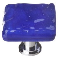 Sietto Glass Hardware - Glacier - Deep Cobalt Blue Knob with Oil Rubbed Bronze base