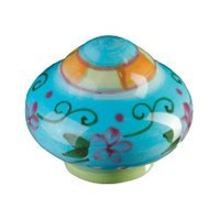 Siro Designs - Botanico - Knob Blue Center with Orange and Green