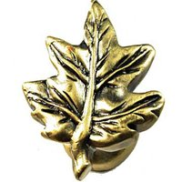 Sierra Lifestyles - Woodlands Design - Maple Leaf Knob in Antique Brass