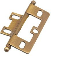 Schaub and Company - Non-Mortise Hinge - Ball Tip Hinge in Antique Brass