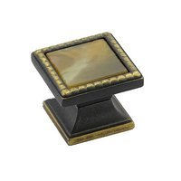 "Schaub and Company - Kingsway - 1 1/4"" Square Knob in Ancient Bronze with Chaparral Glass Inlay"