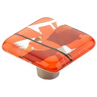 "Schaub and Company - Ice - 1 1/2"" Square Knob in Confetti Orange"