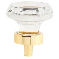 "Schaub and Company - Fire - 1 1/4"" (32mm) Octagonal Knobin Polished Brass with Clear Crystal"