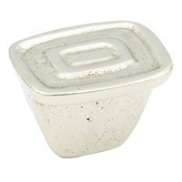 "Schaub and Company - Ovale Cast Bronze - 1 1/4"" x 1"" Double Rectangles Knob in Polished White Bronze"