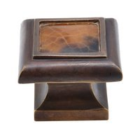 "Schaub and Company - Tiger Penshell - 1 3/8"" Square Solid Brass Knob in Dark Antique Bronze with Tiger Penshell"