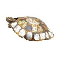 Schaub and Company - Criters and Creatures - Solid Brass Turtle Pendant Pull with white Mother of Pearl, Tiger Penshell and Brown Lip Inlay in Estate Dover with Mother of Pearl