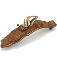 Schaub and Company - Jungle and Nature - Solid Brass Snail on Coco Bark Pull in Estate Dover with Mother of Pearl
