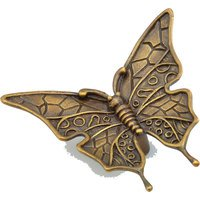 "Schaub and Company - Jungle and Nature - Solid Brass 1 1/2"" Centers Wings In Butterfly Handle in Estate Dover"