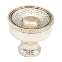 "Schaub and Company - Sonata - 1 1/4"" Diameter Solid Brass Woven Pattern Knob in White Brass"