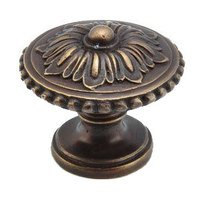 "Schaub and Company - Sonata - 1 1/4"" Diameter Solid Brass Floral Beaded Knob in Dark Antique Bronze"