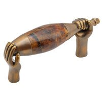 "Schaub and Company - Wine & Grapes - Wine Bottle Pull with Hands, 3"" CC in Estate Dover with Tiger Penshell"