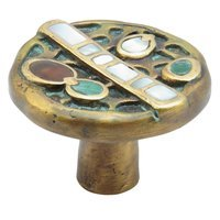 "Schaub and Company - Heirloom Treasures - Solid Brass Knob 1 1/2"" with Tiger Penshell and White and Yellow Mother of Pearl Inlays on Dark Green Wash Finish"