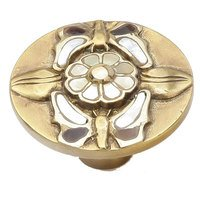 "Schaub and Company - Knobs & Pulls - Solid Brass Knob, 1 1/2"" with Tiger Penshell and Yellow and White Mother of Pearl on Antique Brass Finish"