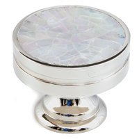 "Schaub and Company - Mother of Pearl - Solid Brass 1 3/8"" Diameter Knob in Polished Nickel with Mother of Pearl"