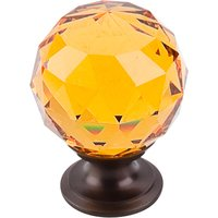 "Top Knobs - Crystal - 1 3/8"" Diameter Knob in Amber Crystal with Oil Rubbed Bronze"